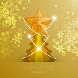 Golden Star with pattern and Christmas tree with snowflake bokeh light set illustration. Isolated on gold gradient background, with copy space Stock Photography