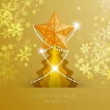 Golden Star with pattern and Christmas tree with snowflake bokeh light set illustration. Isolated on gold gradient background, with copy space Royalty Free Stock Photo