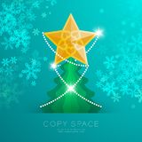 Golden Star with pattern and Christmas tree with snowflake bokeh light set illustration. Isolated on green gradient background, with copy space Royalty Free Stock Images