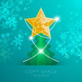 Golden Star with pattern and Christmas tree with snowflake bokeh light set illustration. Isolated on green gradient background, with copy space Stock Images