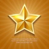 Golden star poster with orange sun burst retro background and message vector illustration Royalty Free Stock Image