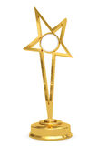 Golden star prize on pedestal with blank plate Stock Photography