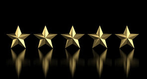 5 golden star. Quality concept 3d rendering image Royalty Free Stock Photography