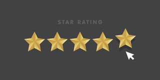 Golden star rating mouse click icon  illustration.  Stock Photography