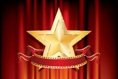 Golden star red banner. 3D golden movie star with blank film banner on red velvet background,  vector illustration Stock Photo