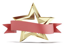 Golden star and red ribbon Stock Photo