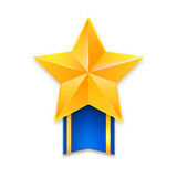 Golden star with ribbon Royalty Free Stock Photo