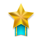 Golden star with ribbon Royalty Free Stock Photos