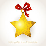 Golden star with ribbons and place for text. Stock Images