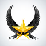 Golden star with Rock Star banner and wings Stock Images