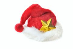 Golden star in santa hat Stock Photography