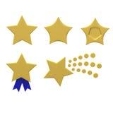 Golden star set 3d Stock Image