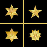 Golden star set. Geometric 3d icon.Modern style. Vector illustration. Elegant symbol of achievements and victories. Symbol for web Royalty Free Stock Images