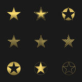 Golden star set Royalty Free Stock Image