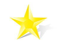 Golden star with shadow Royalty Free Stock Photo