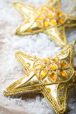 Golden star shape Christmas decorations Royalty Free Stock Photo