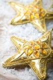 Golden star shape Christmas decorations Royalty Free Stock Photo