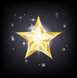 Golden star shining on dark sky Royalty Free Stock Photos