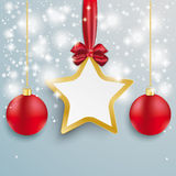 Golden Star Snow Lights Red Baubles Royalty Free Stock Image
