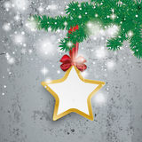 Golden Star Snow Lights Ribbon Fir Branch Concrete Stock Photo