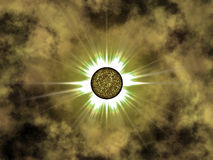 Golden star in space. Nice Stock Image