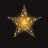 Golden star with sparkles isolated on black Royalty Free Stock Photos