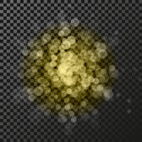 Golden star symbol on the dark background - glitter snowflake, transparency stellar flare. Shining reflection. Royalty Free Stock Photo