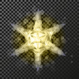 Golden star symbol on the dark background - glitter snowflake, transparency stellar flare. Shining reflection. Stock Image