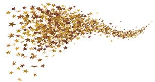 Golden star tail made of little stars. Can be used as a background on Christmas and New Year`s Eve, for example Royalty Free Stock Photography