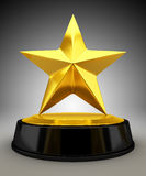 Golden star trophy. 3d render Royalty Free Stock Image