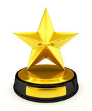 Golden star trophy - 3d render. Golden star trophy isolated on white - 3d render Stock Photography