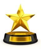 Golden star trophy - 3d render. Golden star trophy isolated on white - 3d render Stock Photo