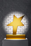 Golden Star Trophy over White Stand Royalty Free Stock Image