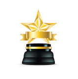 Golden star trophy  on white Stock Photography