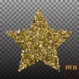 Golden star vector banner on transparent background. Gold   Stock Image