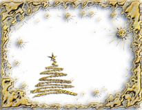 Golden starry Christmas tree on white background Stock Photos