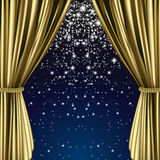 Golden starry curtain Royalty Free Stock Image