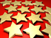 Golden stars. 3d illustrated golden stars over red background Royalty Free Stock Image