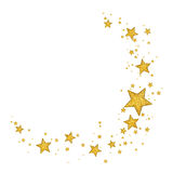Golden Stars. Golden isolated stars with glitter and sparkle Royalty Free Stock Photo
