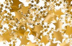 Golden Stars. On white background. Holidyay, Christmas, joy concept. Useful as seasonal greetings stock photography