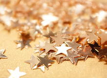 Golden Stars. Beautiful Shiny Festive Background With Golden Stars stock image
