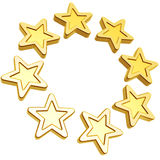 Golden stars. Circle array isolated on white background Royalty Free Stock Image