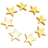 Golden stars. Circle array isolated on white background Stock Image