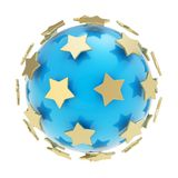 Golden stars around glossy sphere isolated Royalty Free Stock Image