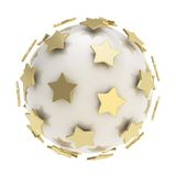 Golden stars around glossy sphere isolated. Golden stars composition around the white glossy sphere isolated Stock Photo