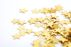 Golden stars as a background for christmas Stock Photography