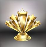 Golden stars award. Award from five gold stars on a light background. Design with gold stars Royalty Free Stock Images