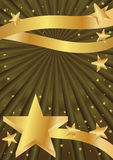 Golden Stars Background_eps. Illustration of flying and dancing golden stars background with golden ribbons Royalty Free Stock Photo