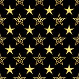 Golden stars on black background seamless texture. Golden stars abstract decoration design star backdrop texture background pattern illustration geometric Stock Image