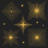 Set of vintage hand drawn stars. Editable design elements. Golden stars on black background. Vector illustration in retro style royalty free illustration